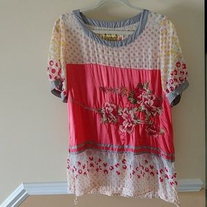 Johnny Was Vintage Silk Embroidered Tunic sz M
